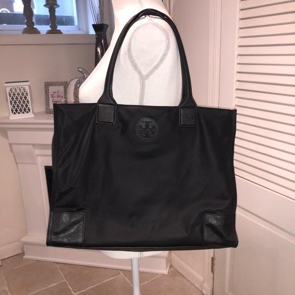 53d616568eb5 Tory Burch Ella Packable Tote Nylon TB Logo Black